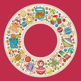Baby shower. Cartoon style. Invitation card. Colorful template. Round frame vector illustration