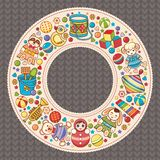 Baby shower. Cartoon style. Invitation card. Colorful template. Round frame stock illustration