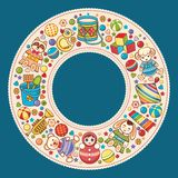 Baby shower. Cartoon style. Invitation card. Colorful template. Round frame royalty free illustration