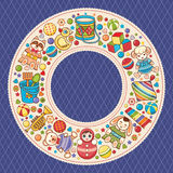Baby shower. Cartoon style. Invitation card. Colorful template. Round frame. Vector stock illustration