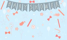 Baby Shower Celebration Card Design with birds, festive balloons. Candy, bows, buttons, etc. Baby Shower Collection. Vector Illustration Royalty Free Stock Photography