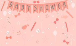 Baby Shower Celebration Card Design with birds Stock Image