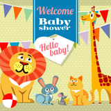 Baby shower celebration greeting invitation card vector template Royalty Free Stock Image