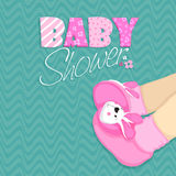 Baby shower celebrations with baby boots. Stock Images