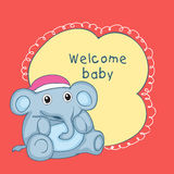 Baby shower celebrations card with toy elephant. Stock Photos