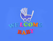 Baby shower concept in flat lay Royalty Free Stock Images