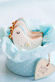 Baby shower cookies. Gift box of baby shower cookies Royalty Free Stock Image