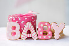 Baby shower cookies. Cookies decorated for a baby girl stock photography