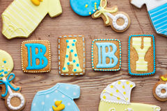 Baby shower cookies Royalty Free Stock Image