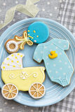 Baby shower cookies. Blue and yellow cookies for a baby shower royalty free stock image