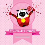 Baby Shower Cow. This is baby shower greetings. Vector format Stock Images