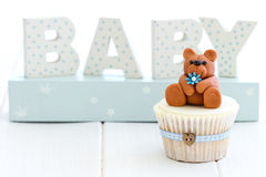 Baby shower cupcake. Cupcake for a baby shower Royalty Free Stock Images