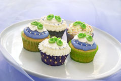 Baby shower cupcakes Royalty Free Stock Images
