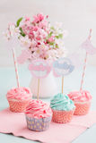 Baby shower cupcakes. Butter cream cupcakes for a baby shower Stock Image