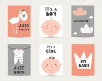 Baby shower cute cards, postcards, invitations, pages with stork, baby boy, baby girl vector illustration