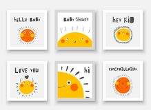 Baby shower cute cards, postcards, invitations, pages with sun, lettering quotes hello kid, hi, congratulation, love you. Funny cover for kids vector illustration
