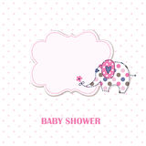 Baby shower with cute cartoon elephant Royalty Free Stock Image