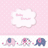 Baby shower with cute cartoon elephants Royalty Free Stock Photo
