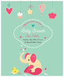 Baby shower cute invitation and with elephant and little duck. Baby shower cute invitation and with elephant and duck Stock Photos