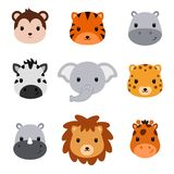 Baby shower cute safari animals. Set of 9 animal heads. Baby shower cute safari animals. Set of 9 animal heads isolated on white background. Vector Royalty Free Stock Image