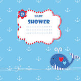 Baby shower with cute whale Royalty Free Stock Image