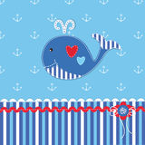 Baby shower with cute whale Stock Photos