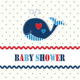 Baby shower with cute whale Royalty Free Stock Photos