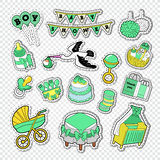 Baby Shower Decoration Set with Boy, Toys and Socks. Newborn Party Doodle Stickers, Badges and Patches Stock Photography