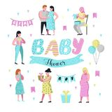 Baby Shower Decoration Set. Young Pregnant Mother Flat Characters with Balloons and Gifts. Newborn Child Invitation stock illustration