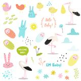 Baby Shower Decorative Elements Set with Cute Stork, Newborn Child and Bunnies. Party Decoration, Invitation, Birthday. Baby Shower Decorative Elements Set with Stock Photography