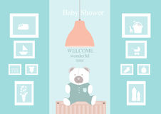 Baby shower design with cute bear dolls on living room Royalty Free Stock Photography