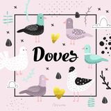 Baby Shower Design with Cute Doves. Creative Hand Drawn Childish Bird Pigeon Background for Decoration, Invitation. Cover. Vector illustration Royalty Free Stock Photo