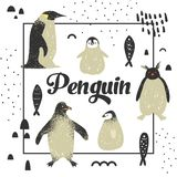 Baby Shower Design with Cute Penguins. Creative Hand Drawn Childish Penguin Background for Decoration, Invitation, Cover. Vector illustration Royalty Free Stock Photo