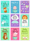 Baby shower design vector card cute woodland animals born arrival vector graphic. Party template vintage cute birth baby. Baby shower design with cute woodland stock illustration