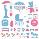 Baby shower design elements vector set. Pregnancy Stock Photography