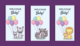 Baby shower design. Icon set of baby shower invitations with cute animals over purple background, colorful design. vector illustration Stock Photography