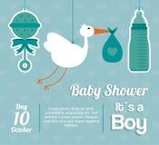 Baby Shower design. maraca, stork and bottle  icon.  Blue illust Stock Photos
