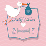 Baby Shower design. stork  icon.  pink illustration,  grap Stock Photos
