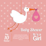 Baby Shower design. stork  icon.  pink illustration,  grap Stock Photography
