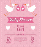 Baby Shower design. stork  icon.  pink illustration,  grap Royalty Free Stock Image
