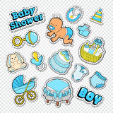 Baby Shower Doodle with Boy, Toys and Socks. Newborn Party Decoration Stickers, Badges and Patches Stock Photos