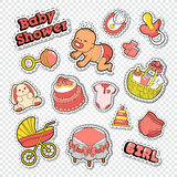 Baby Shower Doodle with Girl, Toys and Cake. Newborn Party Decoration Stickers, Badges and Patches Royalty Free Stock Images