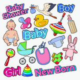 Baby Shower Doodle with Newborn, Toys and Stork. Party Decoration Elements Set. Vector illustration Stock Photo