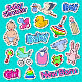 Baby Shower Doodle with Newborn, Toys and Stork. Party Decoration Stickers, Badges and Patches. Vector illustration Stock Image