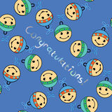 Baby shower doodle seamless pattern. Blue background for boys. Cute icons texture great for fabric/textile design. Royalty Free Stock Image
