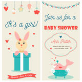 Baby shower double invitation card with cute bunny and whale. Baby shower double invitation card with cute bunny and happy whale Vector Illustration