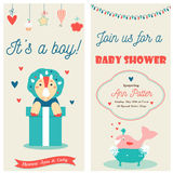 Baby shower double invitation card with a cute dinosaur and happy whale. It is a boy Royalty Free Stock Image