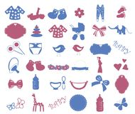 Baby shower elements  set. Royalty Free Stock Photography