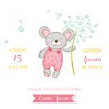 Baby shower eller ankomstkortet - behandla som ett barn musflickan stock illustrationer