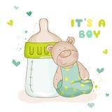 Baby shower eller behandla som ett barn ankomstkort Royaltyfri Foto